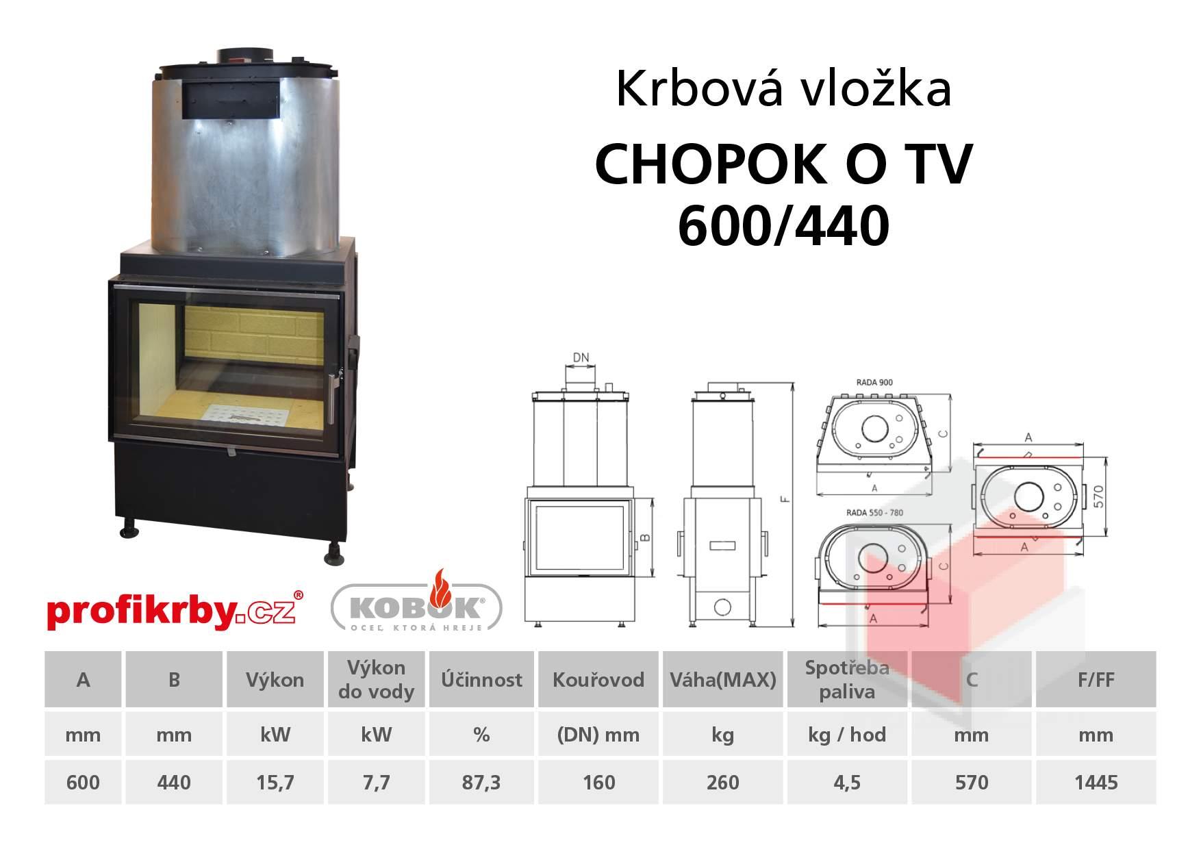 Krbová vložka CHOPOK 600/440 s výměníkem - přikládací dveře