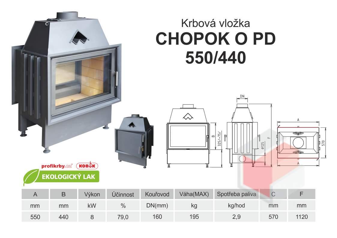 Krbová vložka CHOPOK 550 440 O PD přikládací dveře