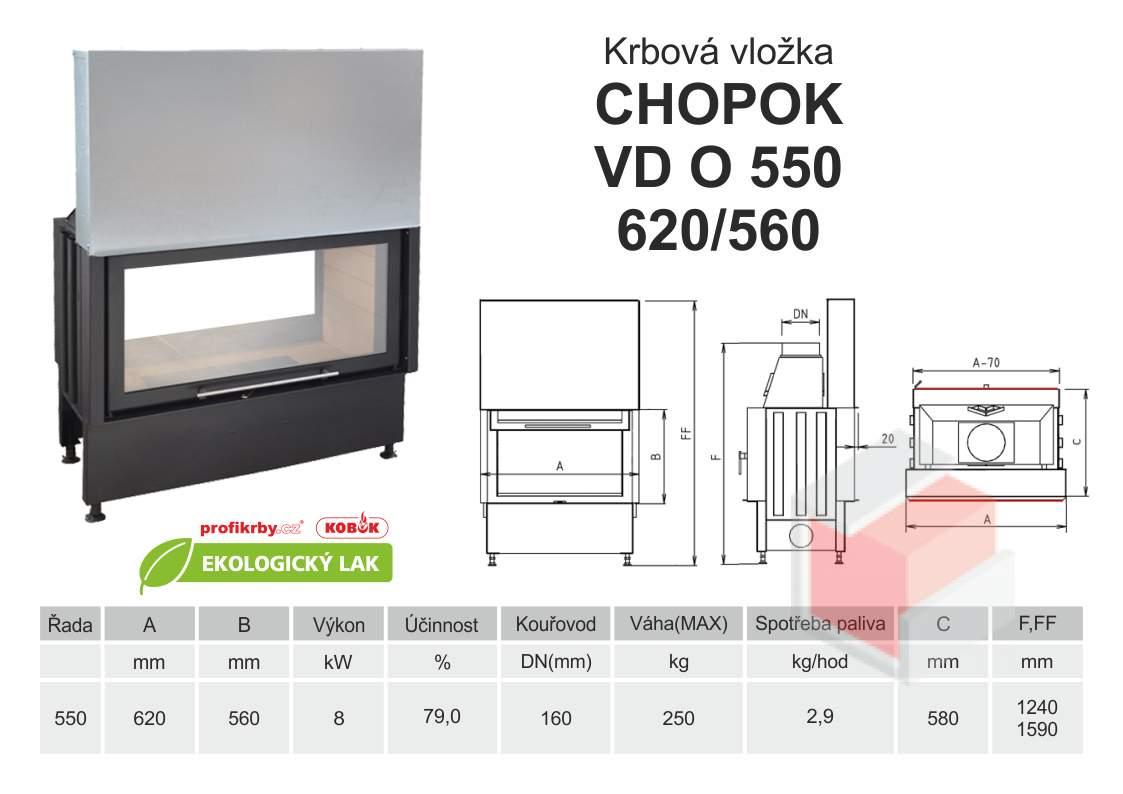 Krbová vložka CHOPOK O 550 (620) 560 VD s výsuvem, oboustranná