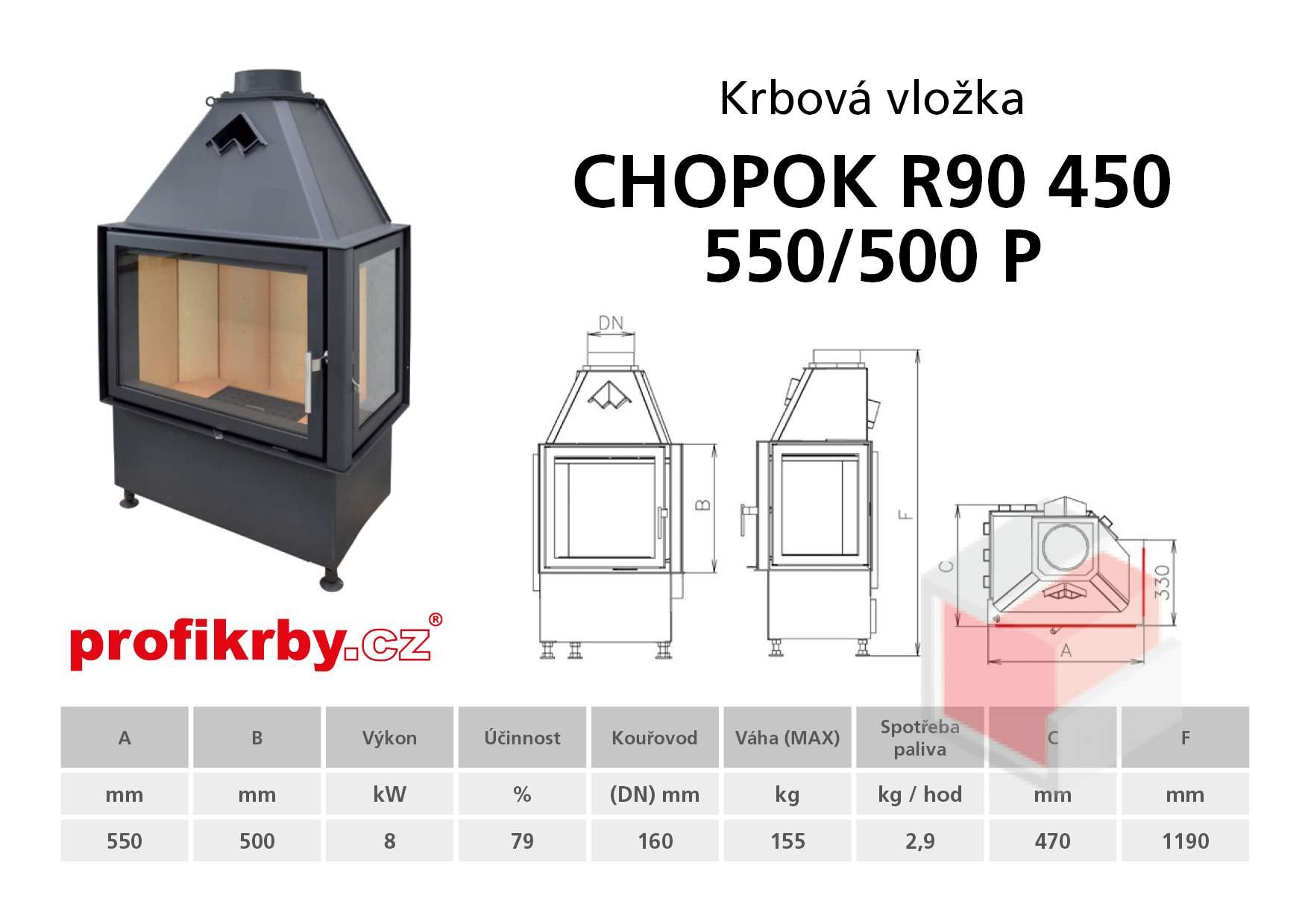 Krbová vložka CHOPOK R90x450 550 500 - Rohová - Dvoje dveře - Pr