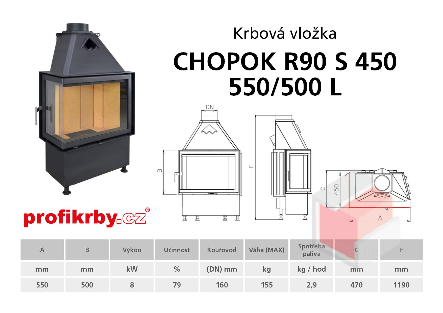 Krbová vložka CHOPOK R90Sx450 550 500 - Rohová - Levá