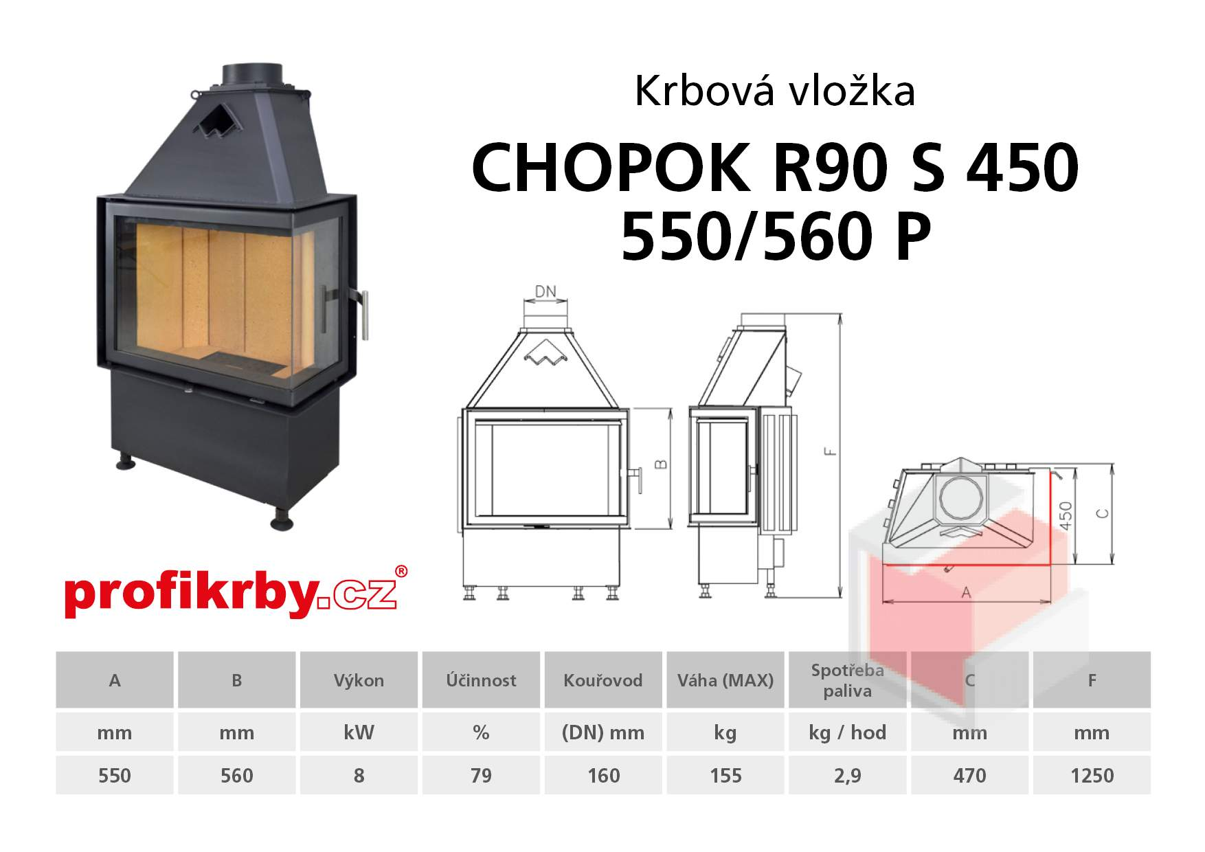 Krbová vložka CHOPOK R90Sx450 550 560 - Rohová - Pravá