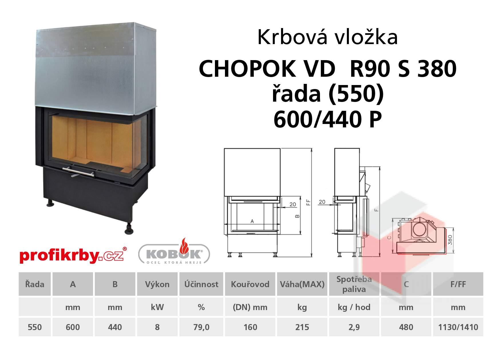 Krbová vložka CHOPOK VD R90Sx330 (380) 550 (600) 440 - Rohová -