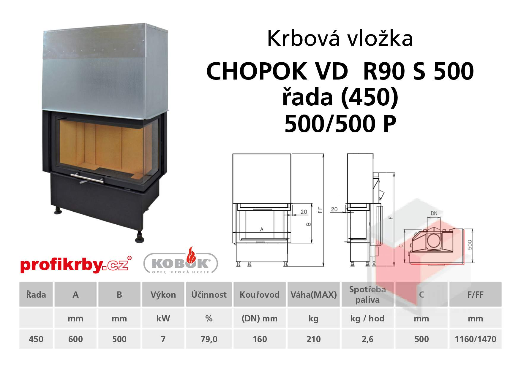 Krbová vložka CHOPOK VD R90Sx450 (500) 450 (500) 500 - Rohová -
