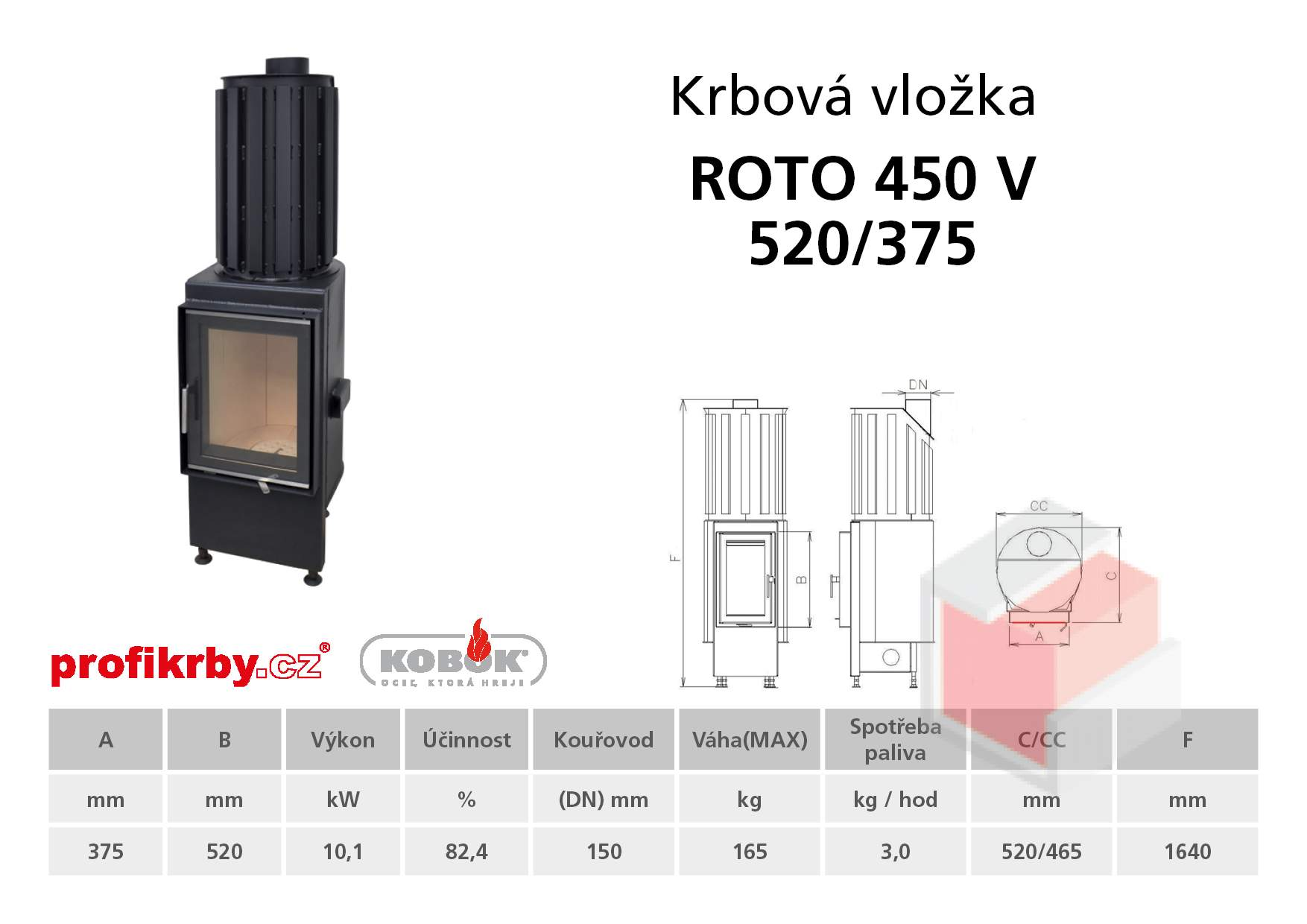 Krbová vložka KOBOK ROTO 450 570/375 - vertikal
