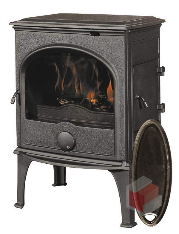 Krbová kamna na dřevo a uhlí litinová 555 GM/E6 smalt hnědá glaz