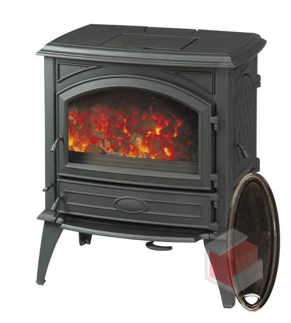 Krbová kamna na dřevo a uhlí litinová 640 GM/E6 smalt hnědá glaz