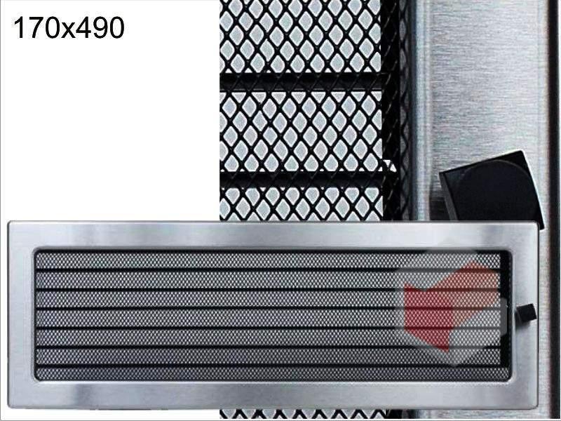 Krbová mřížka broušený nerez žaluziová NZ 170x490 Kratki
