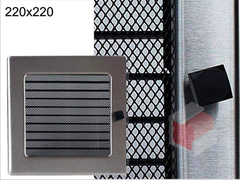 Krbová mřížka broušený nerez žaluziová NZ 220x220 Kratki.