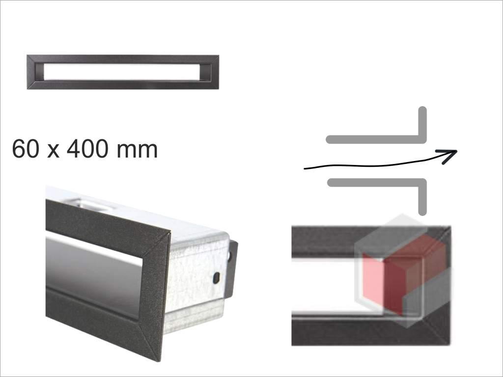 Krbová mřížka grafitová tunelová 60x400