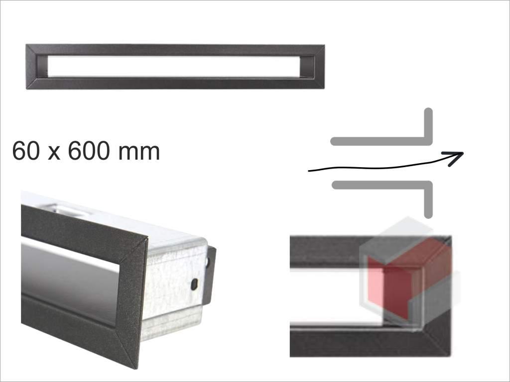 Krbová mřížka grafitová tunelová 60x600