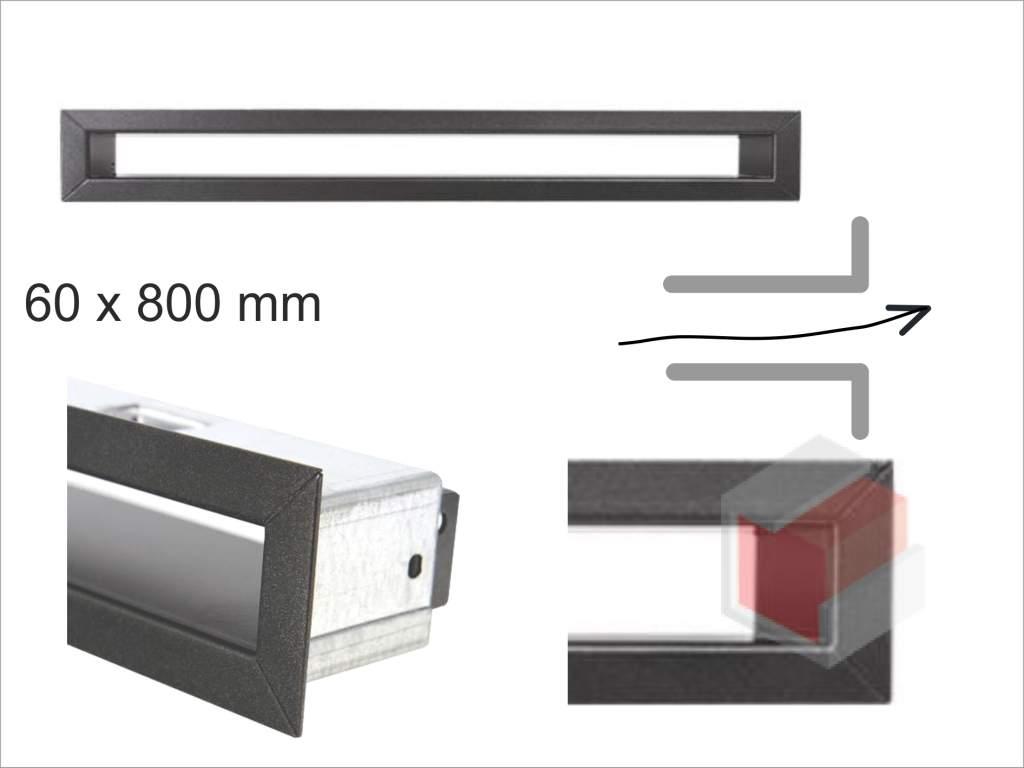 Krbová mřížka grafitová tunelová 60x800