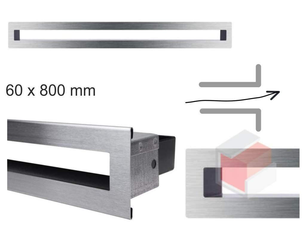 Krbová mřížka broušená nerez tunelová 60x800