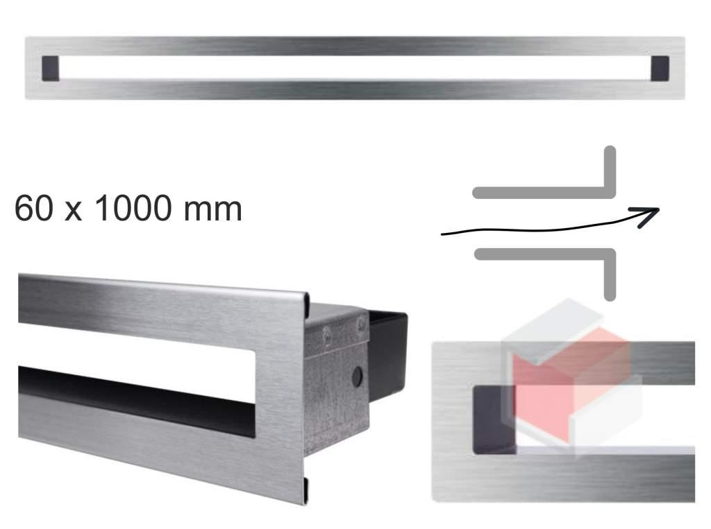 Krbová mřížka broušená nerez tunelová 60x1000