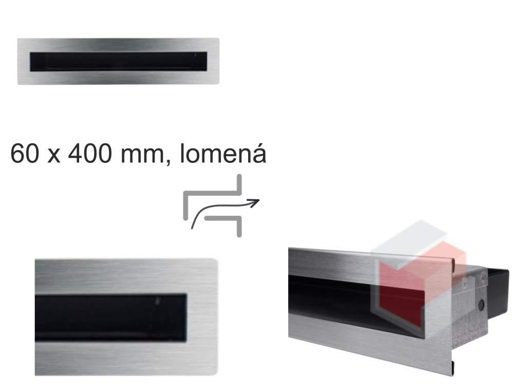 Krbová mřížka broušená nerez tunelová - lomená 60x400