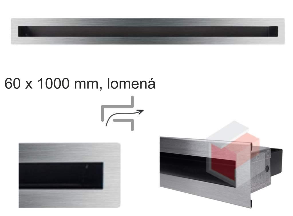 Krbová mřížka broušená nerez tunelová - lomená 60x1000