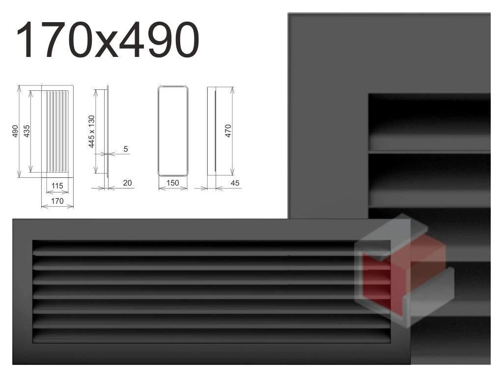 Krbová mřížka grafitová lamelová G 170x490