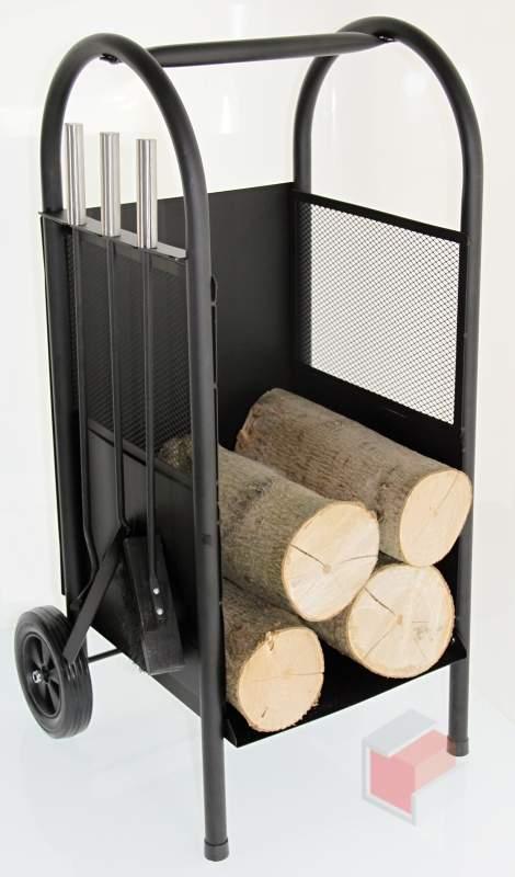 Vozík na dřevo CHIRON + krbové nářadí
