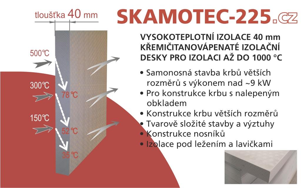 Izolační deska - Skamotec 225 tloušťka 40 rozměr 1000x610x40 mm