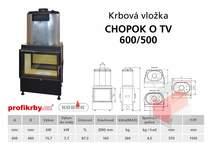Krbová vložka  CHOPOK 600/500 s výměníkem  - přikládací dveře