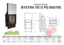 Krbová vložka BYSTRÁ PD VD 600 (670) 780 - přikládací dveře, výs