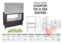 Krbová vložka CHOPOK O 550 (620) 500 VD s výsuvem, oboustranná