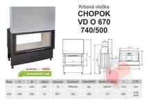 Krbová vložka CHOPOK O 670 (740) 500 VD s výsuvem, oboustranná
