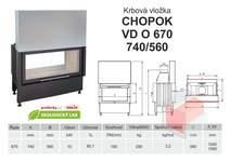 Krbová vložka CHOPOK O 670 (740) 560 VD s výsuvem, oboustranná