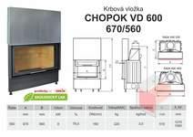 Krbová vložka CHOPOK 600 (670) 560 VD s výsuvem