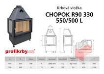 Krbová vložka CHOPOK R90x330 550 500 - Rohová - Dvoje dveře - Le