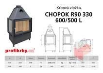 Krbová vložka CHOPOK R90x330 600 500 - Rohová - Dvoje dveře - Le