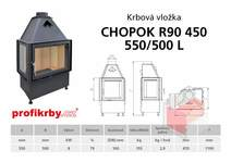 Krbová vložka CHOPOK R90x450 550 500 - Rohová - Dvoje dveře - Le