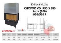 Krbová vložka CHOPOK VD R90Sx330 (380) 900 (950) 560 - Rohová -