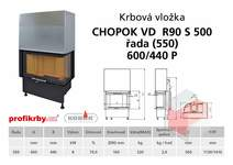 Krbová vložka CHOPOK VD R90Sx450 (500) 550 (600) 440 - Rohová -