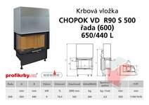 Krbová vložka CHOPOK VD R90Sx450 (500) 600 (650) 440 - Rohová -