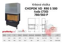 Krbová vložka CHOPOK VD R90Sx450 (500) 730 (780) 560 - Rohová -