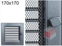Krbová mřížka grafitová s žaluzií GZ 170x170