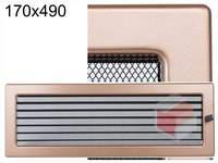 Krbová mřížka lakovaná měď s žaluzií 170x490