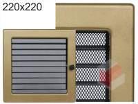 Krbová mřížka lakovaná zlatá s žaluzií 220x220