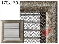 Krbová mřížka Oskar černo-zlatá s žaluzií GZ 170x170