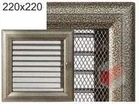 Krbová mřížka Oskar černo-zlatá s žaluzií GZ 220x220