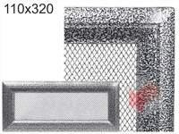 Krbová mřížka Oskar černo-stříbrná 110x320
