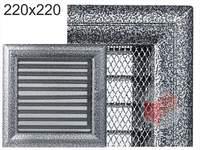 Krbová mřížka Oskar černo-stříbrná s žaluzií GZ 220x220