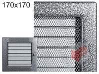 Krbová mřížka lakovaná černo-stříbrná s žaluzií 170x170
