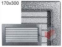 Krbová mřížka lakovaná černo-stříbrná s žaluzií 170x300