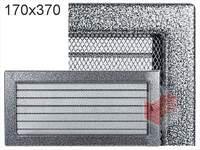Krbová mřížka lakovaná černo-stříbrná s žaluzií 170x370