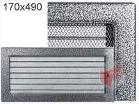 Krbová mřížka lakovaná černo-stříbrná s žaluzií 170x490