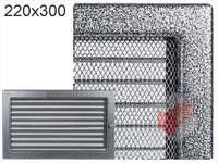 Krbová mřížka lakovaná černo-stříbrná s žaluzií 220x300
