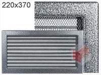 Krbová mřížka lakovaná černo-stříbrná s žaluzií 220x370