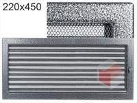 Krbová mřížka lakovaná černo-stříbrná s žaluzií 220x450